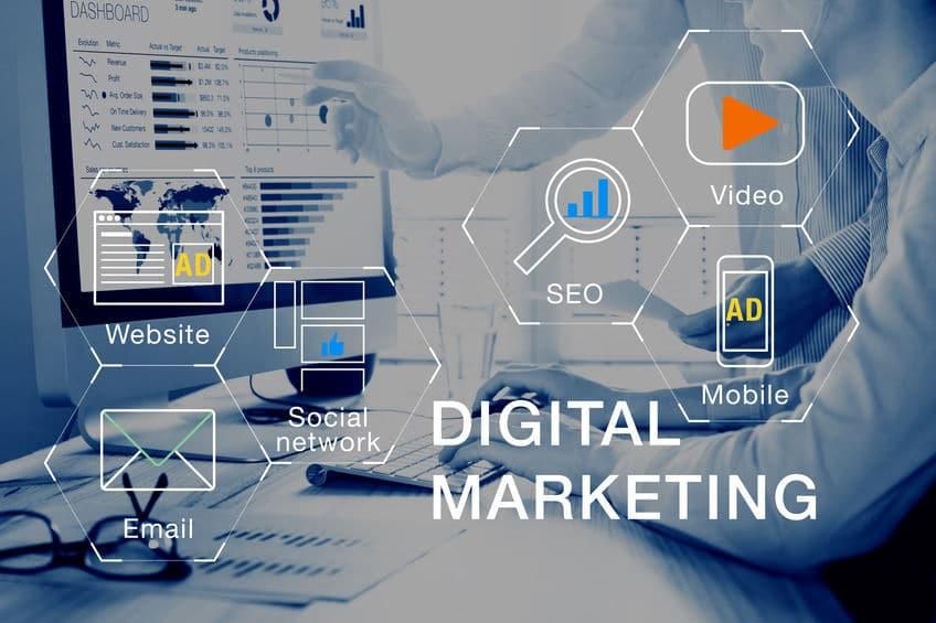 Digital marketing media (website, email, video), team analyzing